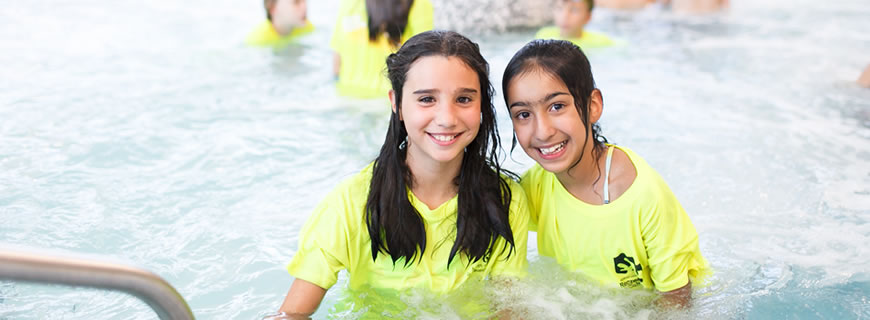 2 girls in the pool