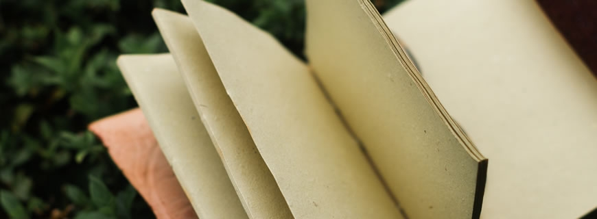 Open journal with blank pages