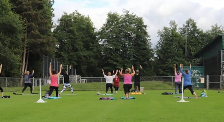 Fitness class in the park