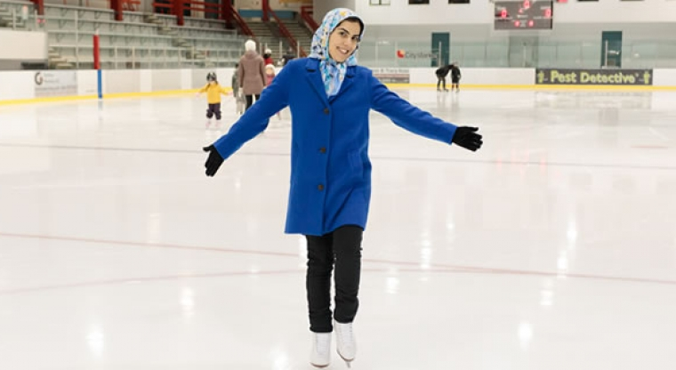 Maryam ice skating at Harry Jerome arena
