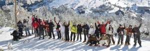 Snowshoeing group