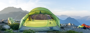 Tent on the top of a mountain